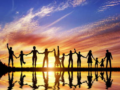 Happy Group of Diverse People, Friends, Family, Team Standing Together Holding Hands and Celebratin Photographic Print by PHOTOCREO Michal Bednarek
