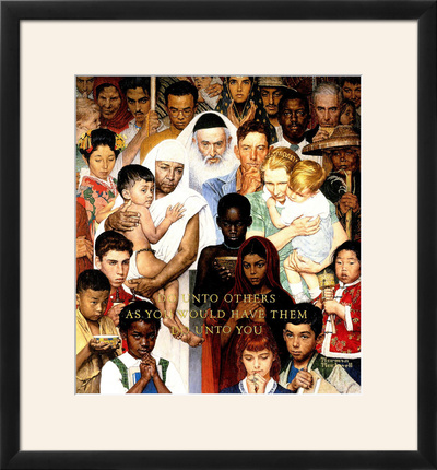 """""""Golden Rule"""" (Do unto others), April 1,1961 Framed Giclee Print by Norman Rockwell"""