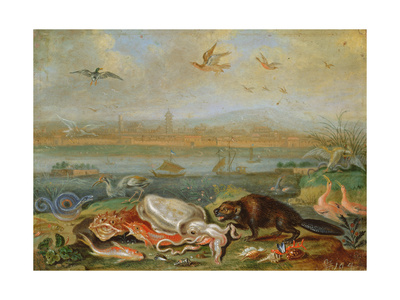 Creatures from the Four Continents in a Landscape with a View of Canton in the Background Giclee Print by Ferdinand van Kessel