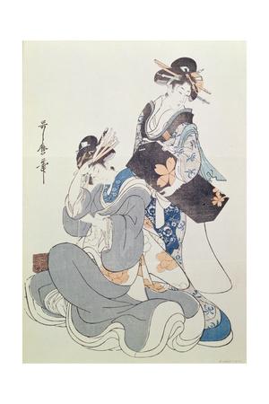 Two Female Figures Giclee Print by Kitagawa Utamaro