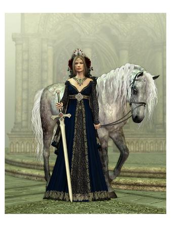Woman & Horse Medieval Church Prints