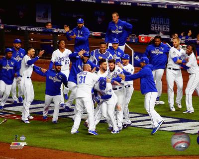 The Kansas City Royals celebrate winning Game 1 of the 2015 World Series Photo