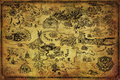 Zelda Hyrule video game map poster art