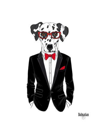 Dalmatian Dog in Tuxedo Art by Olga Angellos