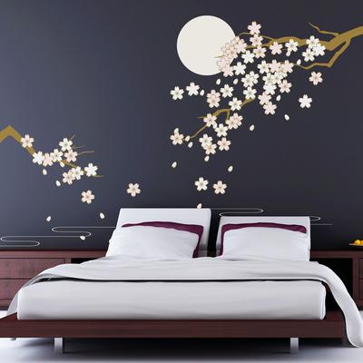 Cherry Blossom Under Moonlight Wall Decal