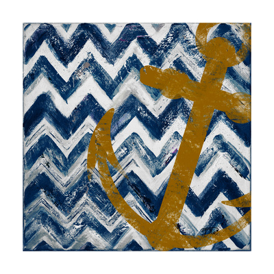 Nautical Chevron I Premium Giclee Print by Patricia Pinto