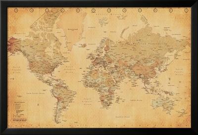 Weltkarte - Vintage Kunstdrucke