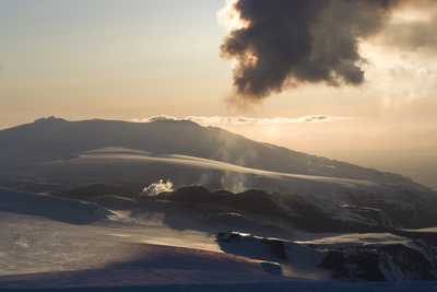 Plume of Ash from Eyjafjallajokull Volcano, Silhouetted Against Sunset, Southern Iceland Photographic Print by Natalie Tepper