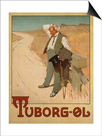 Advertising Poster for Tuborg Beer, 1900 Magnetic Art Baskı