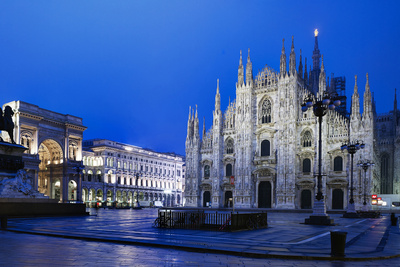 The City of Milan, the Huge Duomo Cathedral and the Centre of the City Photographic Print by David Churchill