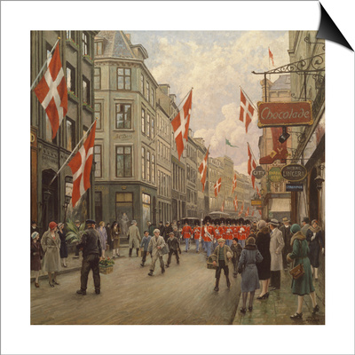 The Royal Danish Lifeguards Marching Through Ostergade, Copenhagen Reprodukce Magnetic Art