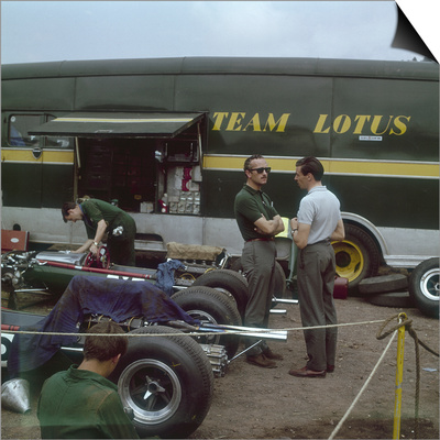 Chapman and Clark Outside the Lotus Team Bus, French Grand Prix, Clermont-Ferrand, France, 1965 Posters