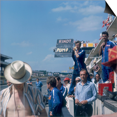 A Mechanic Holding Up a Sign, French Grand Prix, Le Mans, France, 1967 Poster