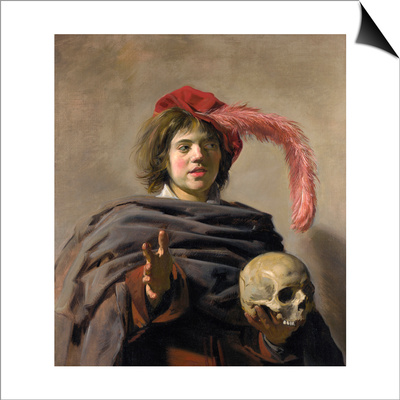 Young Man Holding a Skull (Vanita), 1627 Prints by Frans I Hals