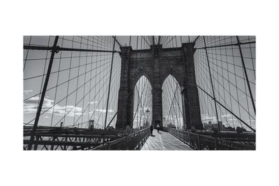 On the Brooklyn Bridge Shadows  Panorama Photographic Print by Henri Silberman