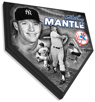 Mickey Mantle Home Plate Plaque Wall Sign