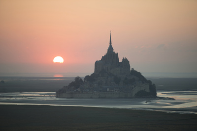 Mont Saint Michel Sunset Photographic Print by Philippe Manguin