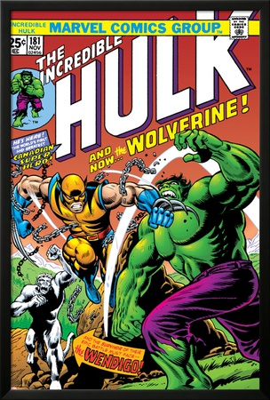 Marvel Comics Retro: The Incredible Hulk Comic Book Cover No.181, with Wolverine and the Wendigo Posters