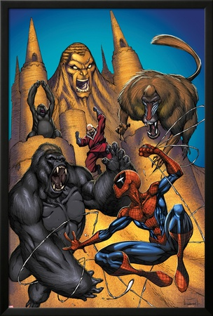 Marvel Adventures Spider-Man No.20 Cover: Sandman, Red Ghost and Spider-Man Fighting a Gorilla Poster by  Sotocolor