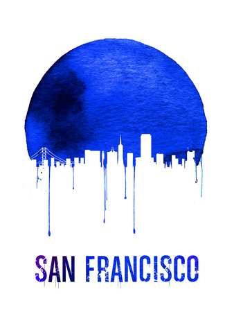 San Francisco Skyline Blue Plastic Sign by  NaxArt