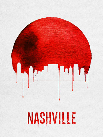 Nashville Skyline Red Plastic Sign by  NaxArt
