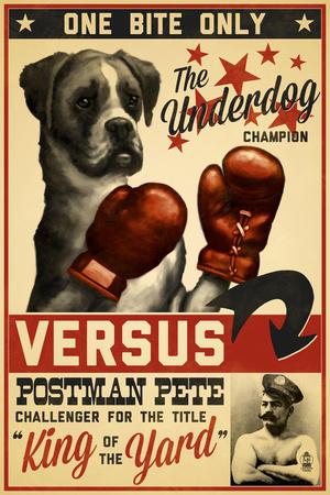 Boxer - Retro Boxing Ad Plastic Sign by  Lantern Press