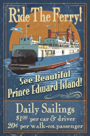 Prince Edward Island - Ferry Vintage Sign Plastic Sign by  Lantern Press