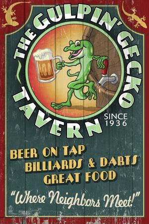 Gecko Tavern - Vintage Sign Plastic Sign by  Lantern Press