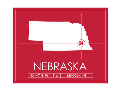 University of Nebraska State Map Posters by  Lulu