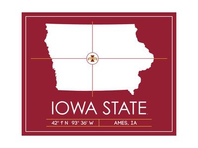 Iowa State University State Map Posters by  Lulu