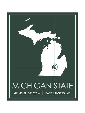 Michigan State University State Map Prints by  Lulu