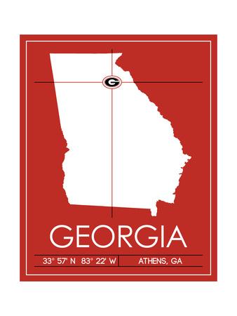 University of Georgia State Map Print by  Lulu