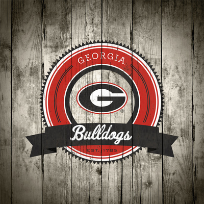Georgia Bulldogs Logo on Wood Prints by  Lulu
