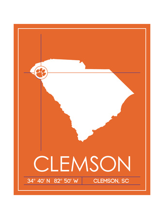 Clemson University State Map Prints by  Lulu