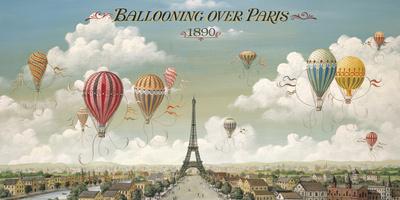 Ballongfärd över Paris Gicléetryck av Isiah and Benjamin Lane