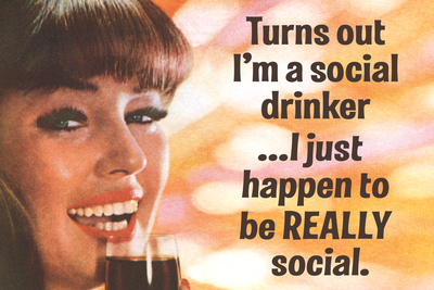 Turns Out I'm a Really Social Drinker Funny Art Poster Print Photo by  Ephemera