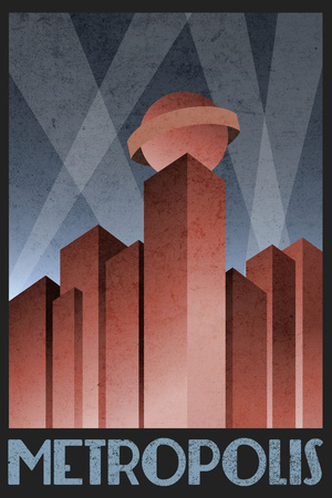 Metropolis Retro Travel Poster Plakater