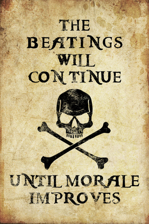Beatings Will Continue Until Morale Improves Distressed Print Poster Posters