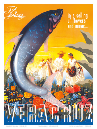 Veracruz, Mexico - For Fishing in a Setting of Flowers and Music Print by  Espert