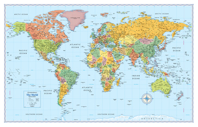 Rand Mcnally Laminated Signature World Map Prints