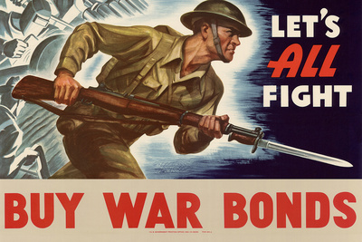 Let's All Fight Buy War Bonds WWII War Propaganda Art Print Poster Prints