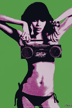 Steez Bikini Boombox - Green Posters