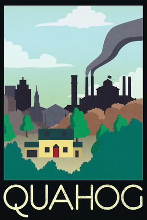 Quahog Retro Travel Poster Posters