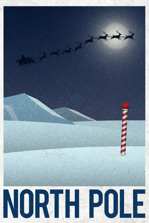 North Pole Retro Travel Poster Prints