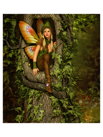 Fairy in a Tree Knothole Prints