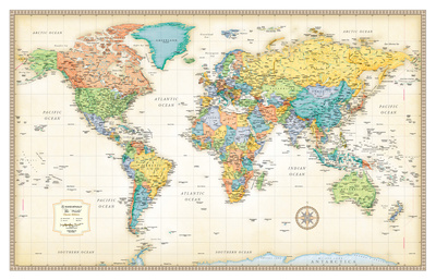 Rand Mcnally Laminated Classic World Map Print