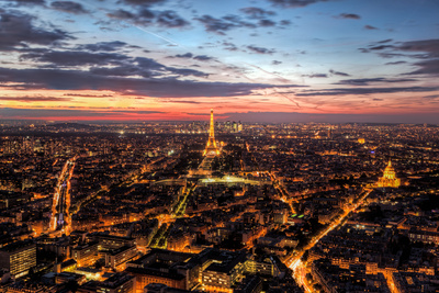 Paris, France Skyline, Panorama at Sunset, Young Night. View on Eiffel Tower, Champ De Mars Photographic Print by PHOTOCREO Michal Bednarek