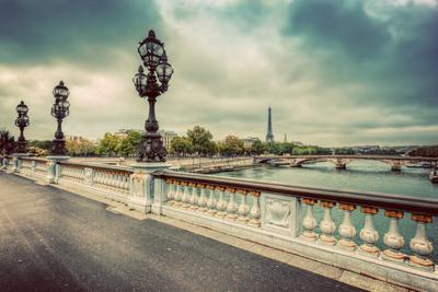 Pont Alexandre III Bridge in Paris, France. Seine River and Eiffel Tower. Vintage Photographic Print by PHOTOCREO Michal Bednarek