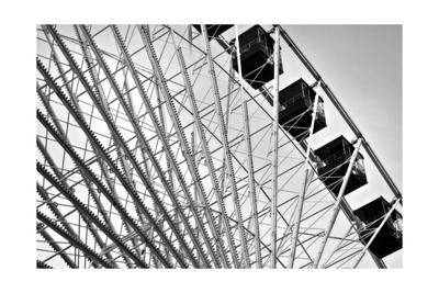 Ferris Wheel Bw Photographic Print by John Gusky