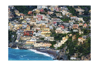 Positano Houses And Beach From Above, Italy Photographic Print by George Oze